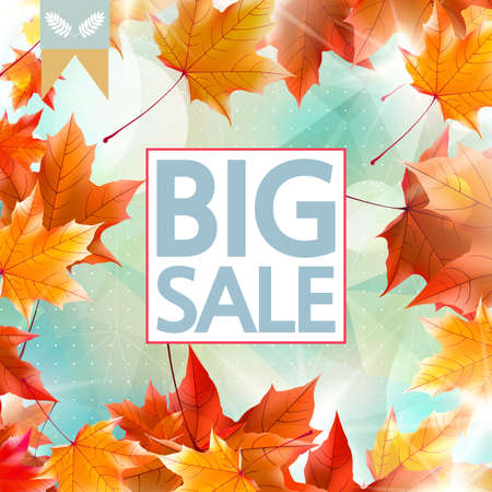 Colorful geometric background card with maple leaves, autumn sale Imagens - 30011082
