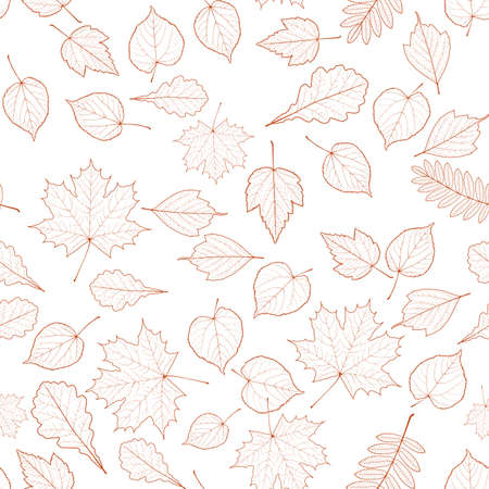 Seamless autumn leaves pattern template Imagens - 30011125