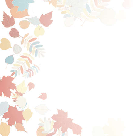 withering: Autumn leaves falling and spinning on white