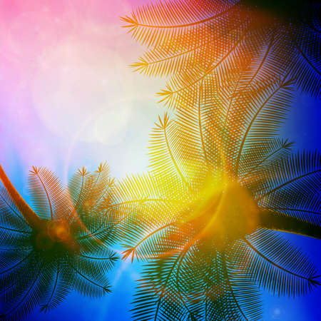 Drzewka palmowe z pięknym zmierzchem EPS10 Ilustracje wektorowe
