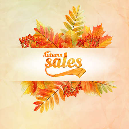 Autumn sale poster with leaves on a old paper  EPS10 Vector