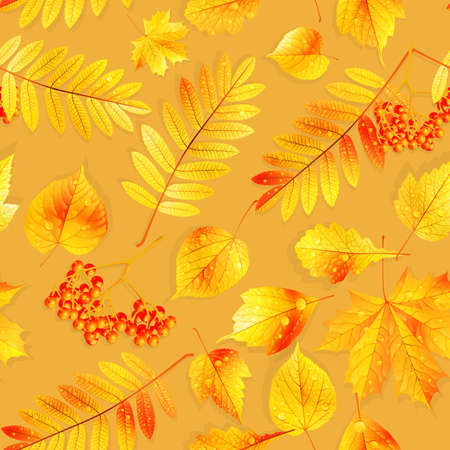 Autumnal swatch ready detailed seamless wet leaves background  EPS10