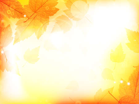 Autumn design background with leaves falling from the tree  EPS10 Çizim