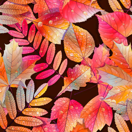 Autumnal swatch ready detailed seamless wet leaves background   Vector