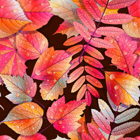 Autumnal swatch ready detailed seamless wet leaves background   Illustration