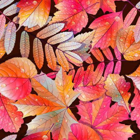 Autumnal swatch ready detailed seamless wet leaves background Imagens - 30878705