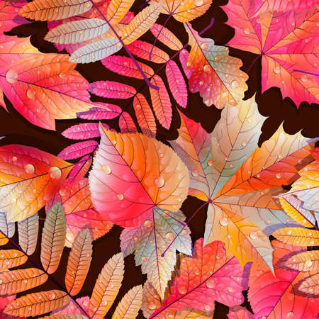 Autumnal swatch ready detailed seamless wet leaves background Imagens - 30878691