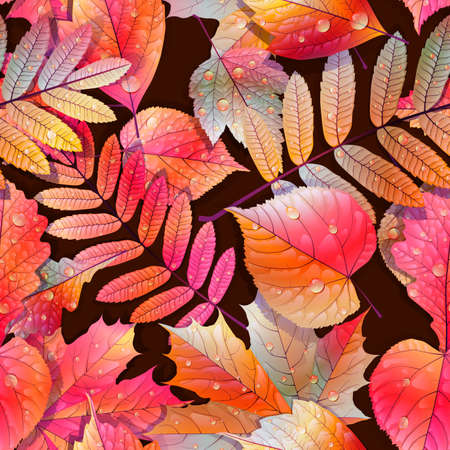 Autumnal swatch ready detailed seamless wet leaves background   Ilustração