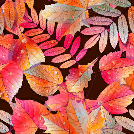 Autumnal swatch ready detailed seamless wet leaves background