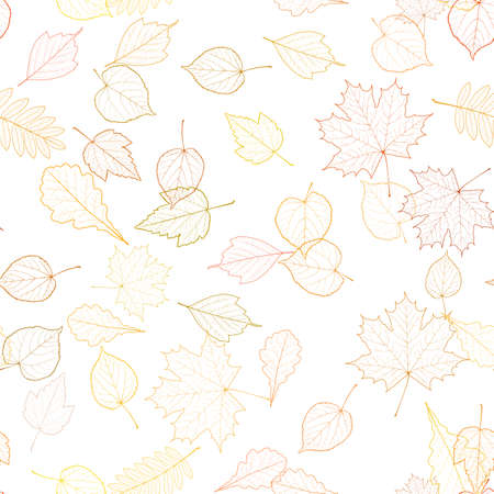 Seamless autumn leaves pattern template. Imagens - 75410464