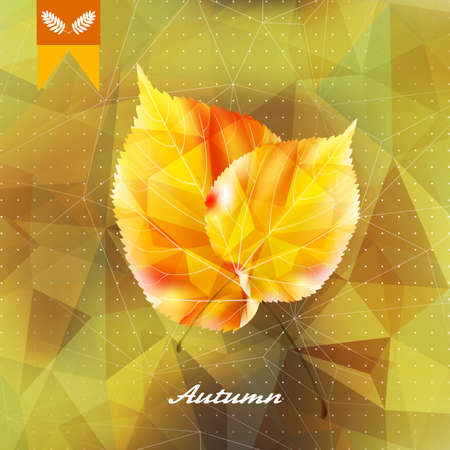 Autumnal leaf background made of triangles. Imagens - 75410548