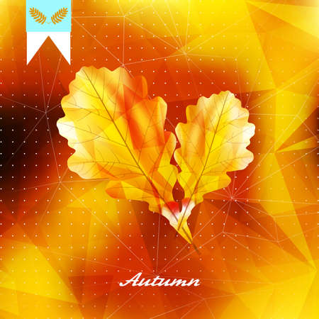 Autumnal leaf background made of triangles. Imagens - 75410563