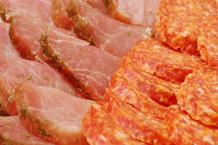 appetizing snack from the sliced meat products. closeup