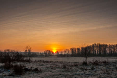 non stock: beautiful dawn in the frosty morning. the glade covered with hoarfrost Stock Photo