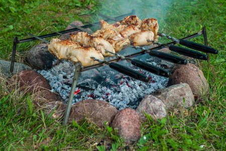 non stock: delicious chicken kebab with a ruddy crust on skewers cooked on the coals from the fire on a simple device in field conditions Stock Photo