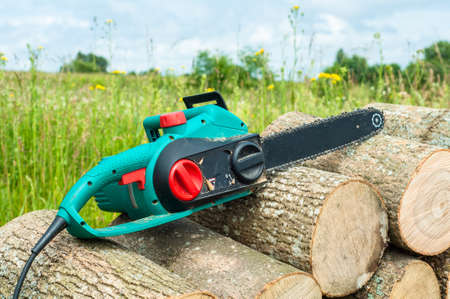 advertizing: hand chain power saw on firewood against the background of a green meadow and the blue sky Stock Photo