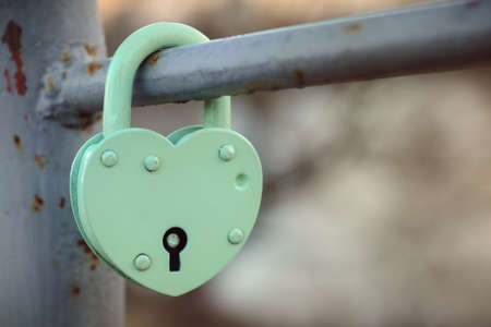 green metal padlock heart of lovers on the fence of the bridge in the park. concept Фото со стока