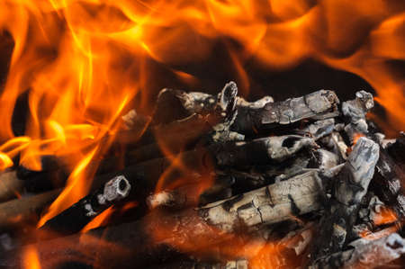 Fire. brightly burning firewood in a bonfire close-up