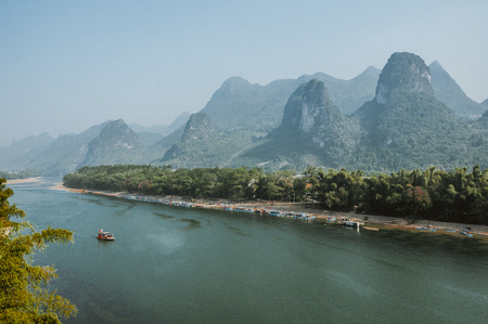 Karst mountains and Lijiang River scenery in the mist