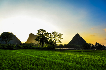 The countryside and mountains scenery in sunset