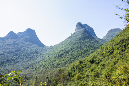 Karst mountains and  rural scenery