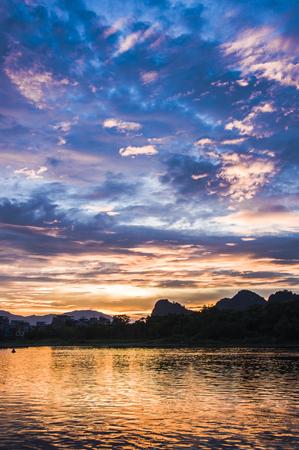 The sunrise scenery at lijiang lake, China. Stock Photo