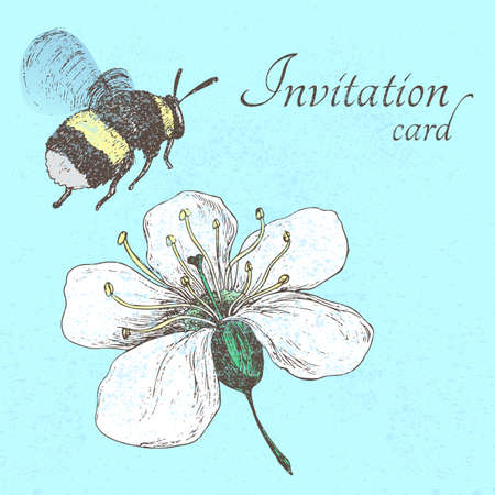 Invitation card with bumblebee and cherry flower on a blue background