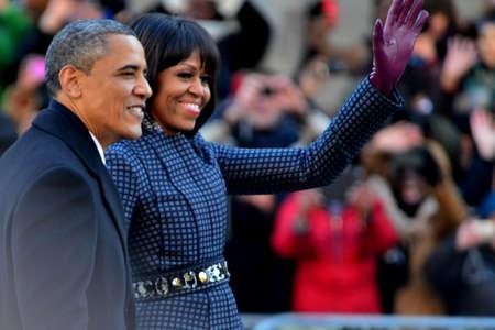 feestelijke opening: De Amerikaanse president Barack Obama - Michelle Obama - 2013 Presidentiële Inauguratie Dag Redactioneel