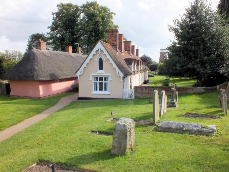 almshouse: The long low thatched building, still known as the Chantry, was built as a Priest