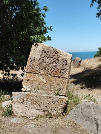 desecrated: An Armenian cross-stone  khachkar  dated to 1434 AD on Akhtamar Island