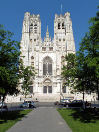 The facade of the Cathedral of St  Michael and St  Gudula in Brussels was completed in the mid-fifteenth century photo