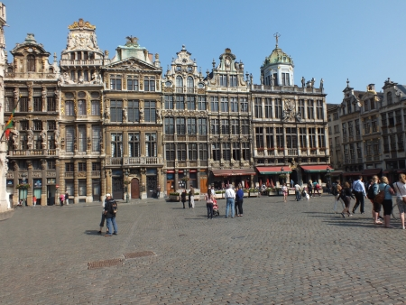 guildhalls: The Grand Place  French  or Grote Markt  Dutch  is the central square of Brussels  It is surrounded by guildhalls  seen here  and other important buildings  The UNESCO World Heritage Site, measuring 223 by 360 ft, is the most important tourist destination