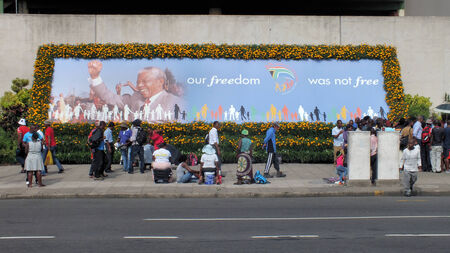 apartheid: Despite his death Nelson Mandela is still celebrated throught South Africa such as in this poster in downtown Durban