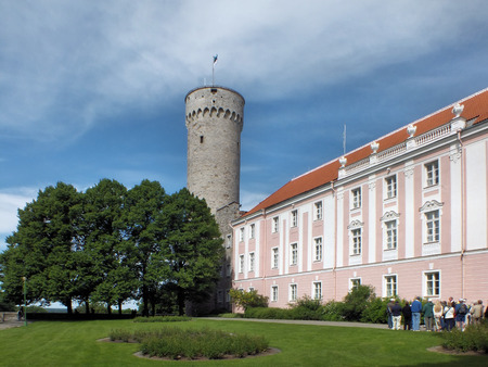 The Pikk Hermann tower stands at the south-western corner of Toompea Castle in Tallinn  It is thought to have been built in 1371  The Estonian national flag was first seen here after years of Soviet occupation on 24 February 1989