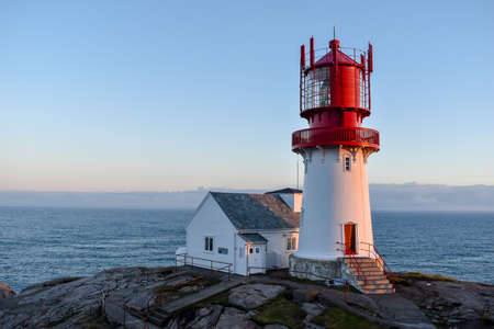 Light house Lindesnes - a coastal lighthouse at the southernmost tip of Norway Stockfoto