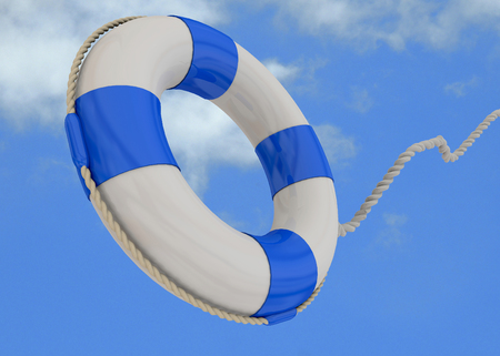 buoy: Life Buoy on blue sky