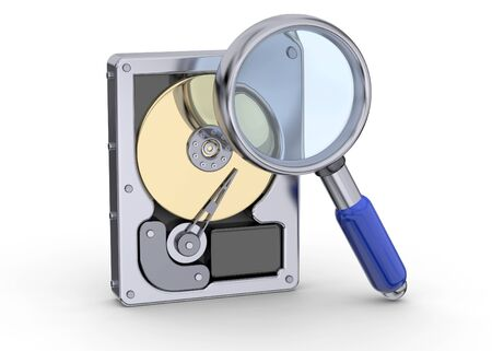 hard disk: Hard Disk and magnifying glass