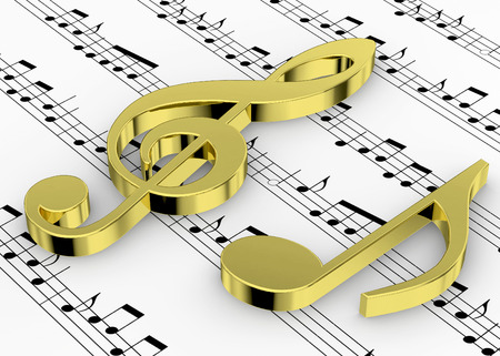 intonation: Treble Clef and note on Pentagram Stock Photo