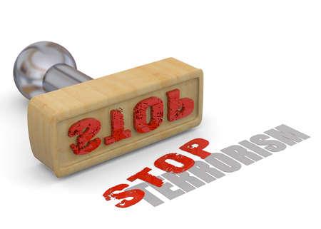 victim war: Stamp Stop Terrorism on white background