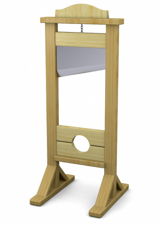 beheading: 3d Guillotine on white background