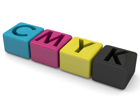 offset printer: CMYK concept on white background Stock Photo