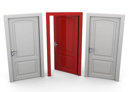 err: Choosing a Door Concept 3D Stock Photo