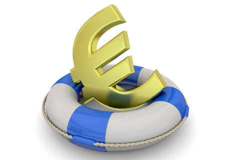 Life bouy and golden euro symbol