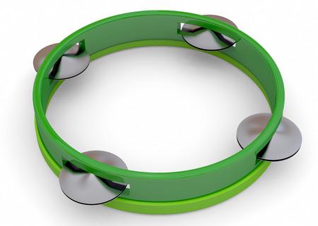 tambourine: Tambourine 3d on white background Stock Photo