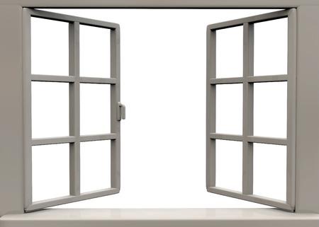 open window on white background Stockfoto