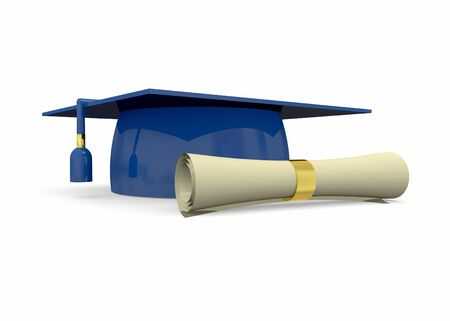 degree: Graduation hat and degree 3D Stock Photo