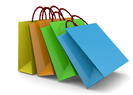 shopper: Colorful shopper on white background Stock Photo