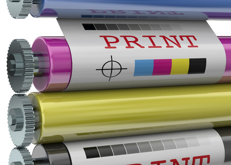 commerce and industry: Print Machine on white background