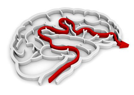 Brain maze with red arrow Stock Photo