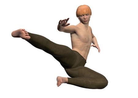 beaten: Boy and Kung Fu on white background